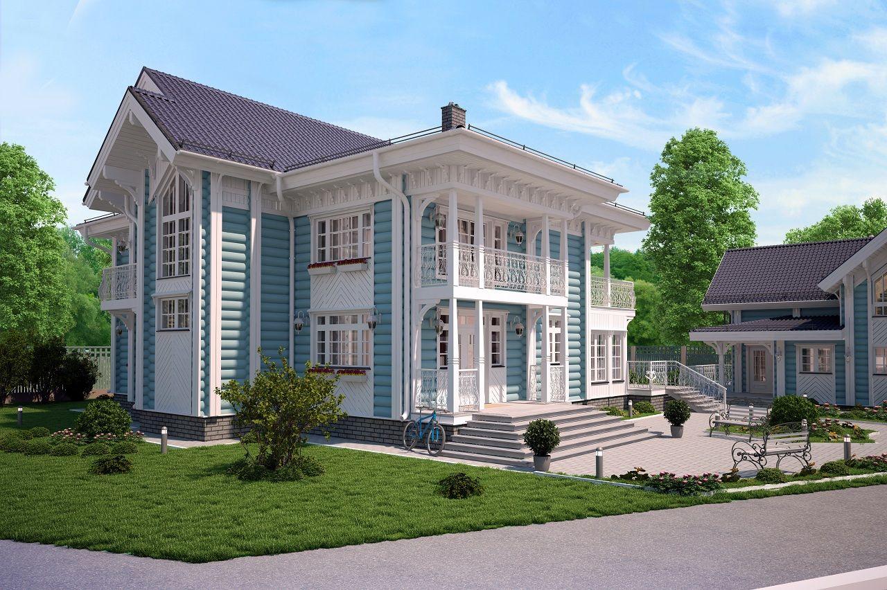 большой дом из лиственницы