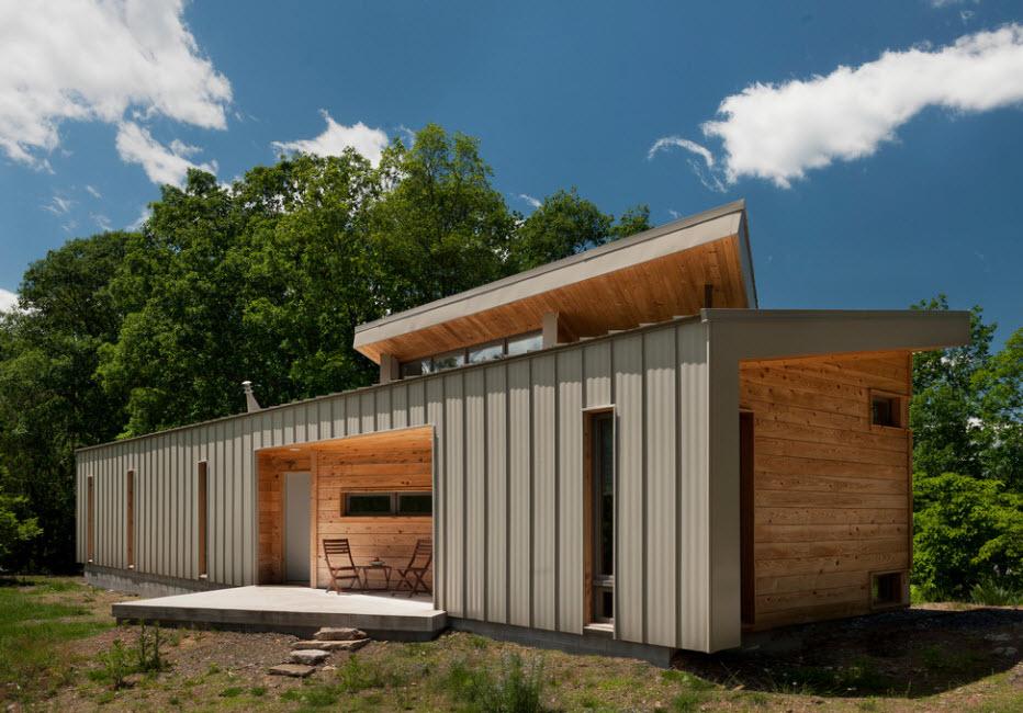 простой дом под односкатной крышей