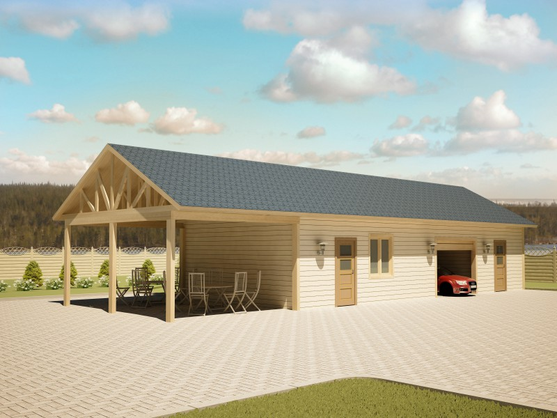 баня, гараж и терраса под одной крышей