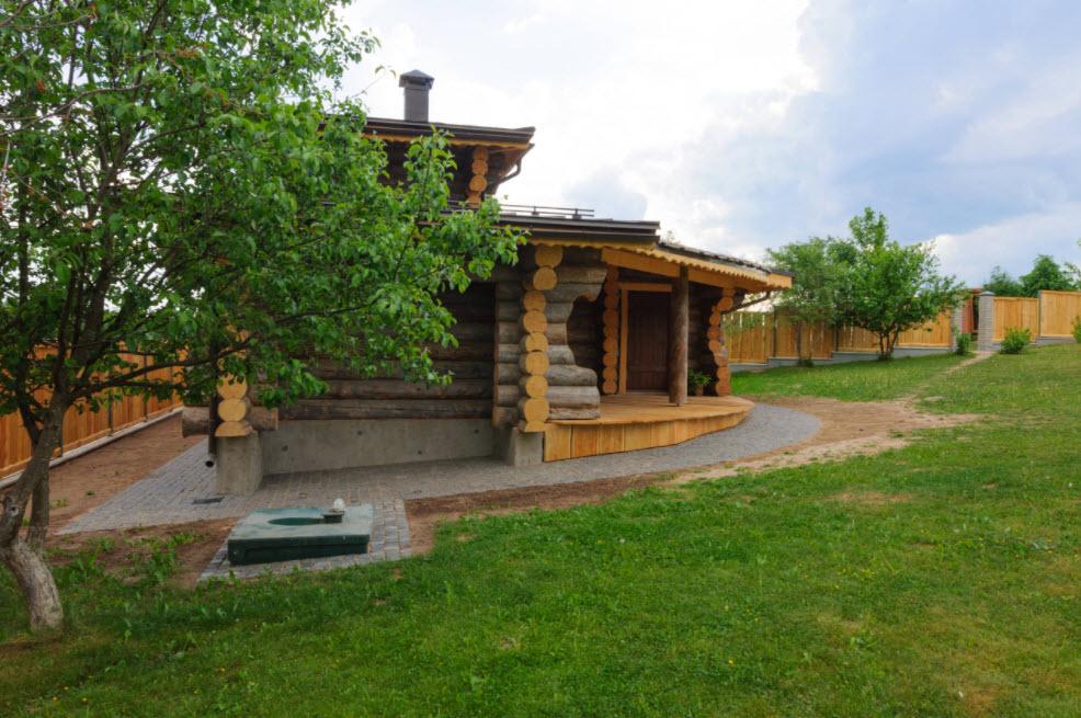 деревенская баня с террасой