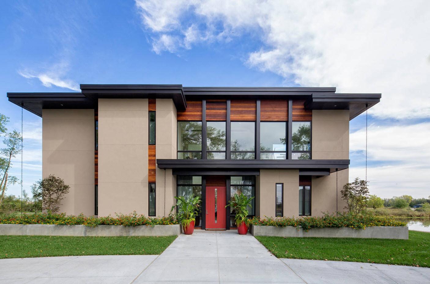 современные дома с плоской крышей проекты фото работами