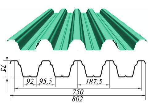 Профнастил Н-75 х 750