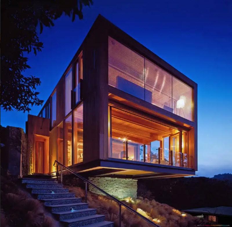 красивые фасады частных домов фото из стекла жители любят