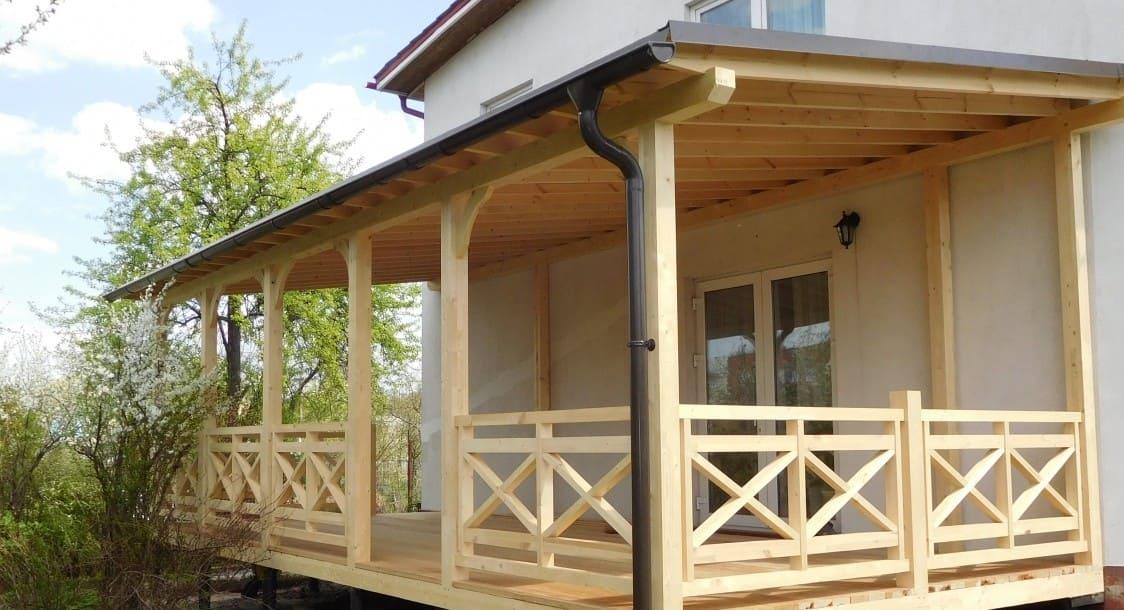 веранда из бруса к деревянному дому фото современный