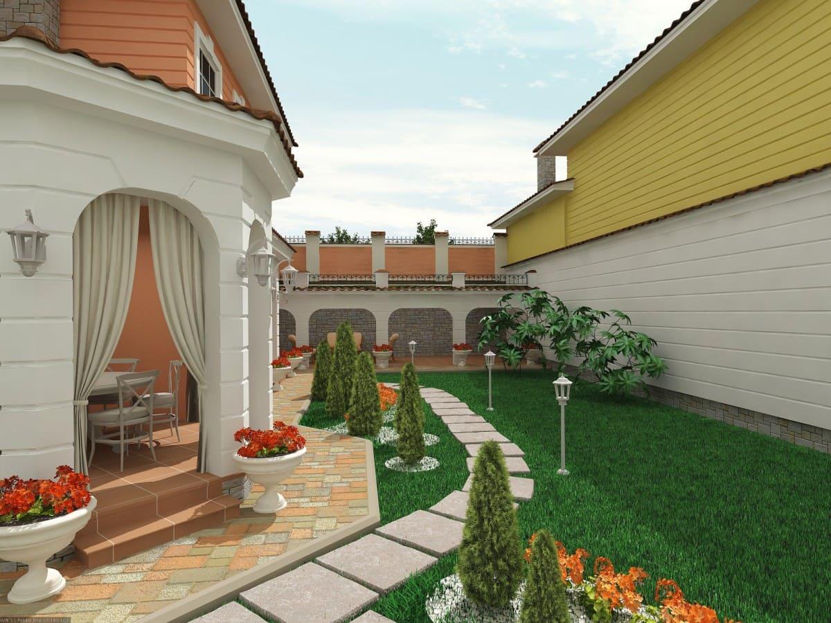 красиво оформить двор частного дома фото счастью