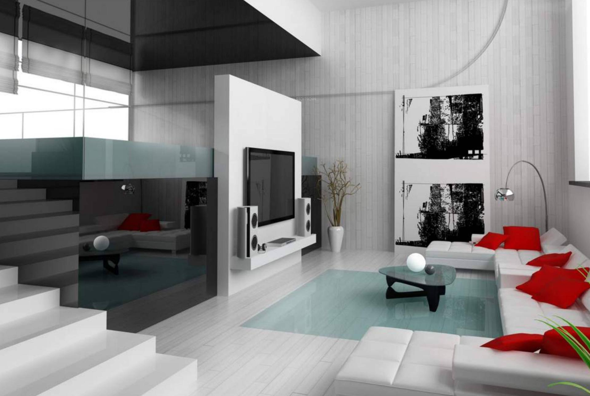 чаще картинки интерьера хай-тек гостиной декоративное