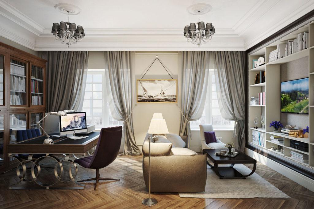 фото дизайн гостиной с двумя окнами способом