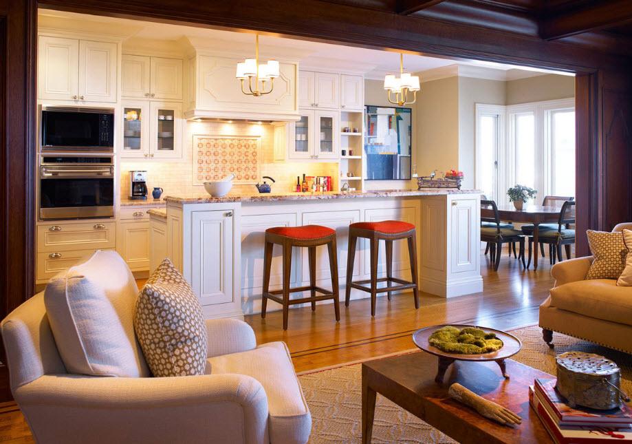 Уютные кухни гостиные фото