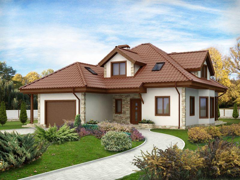 дом и гараж с совместной крышей
