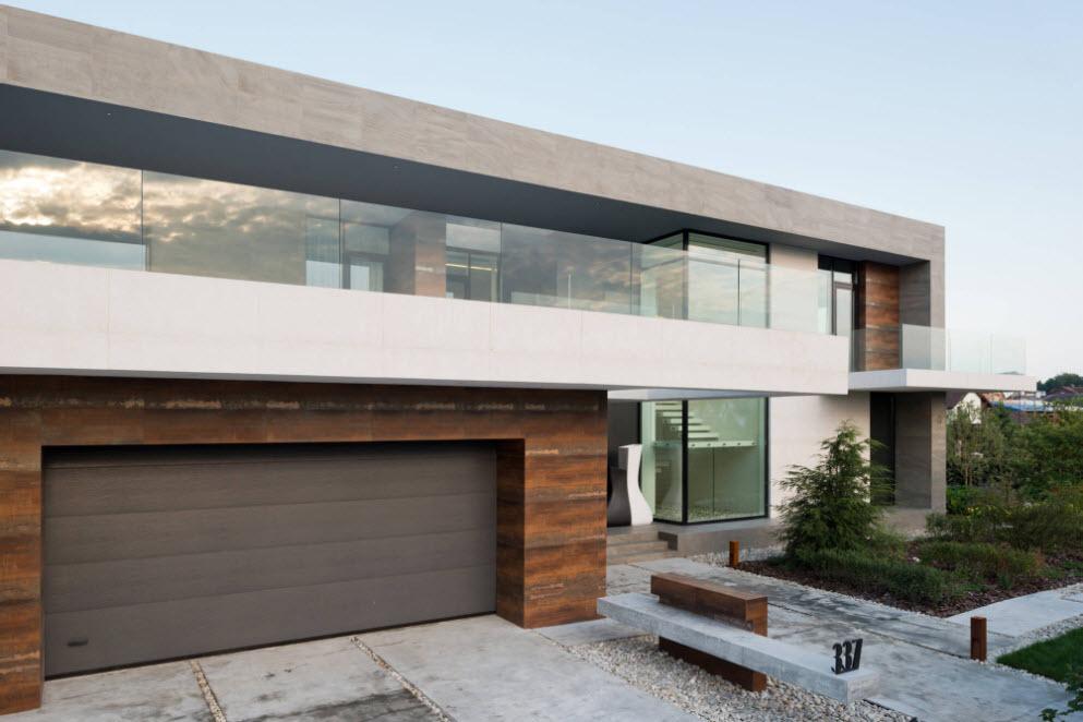 дом с гаражом в стиле хай-тек
