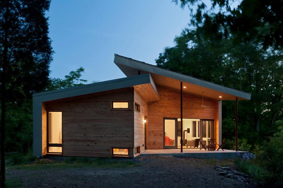 дома с односкатной кровлей в современном стиле