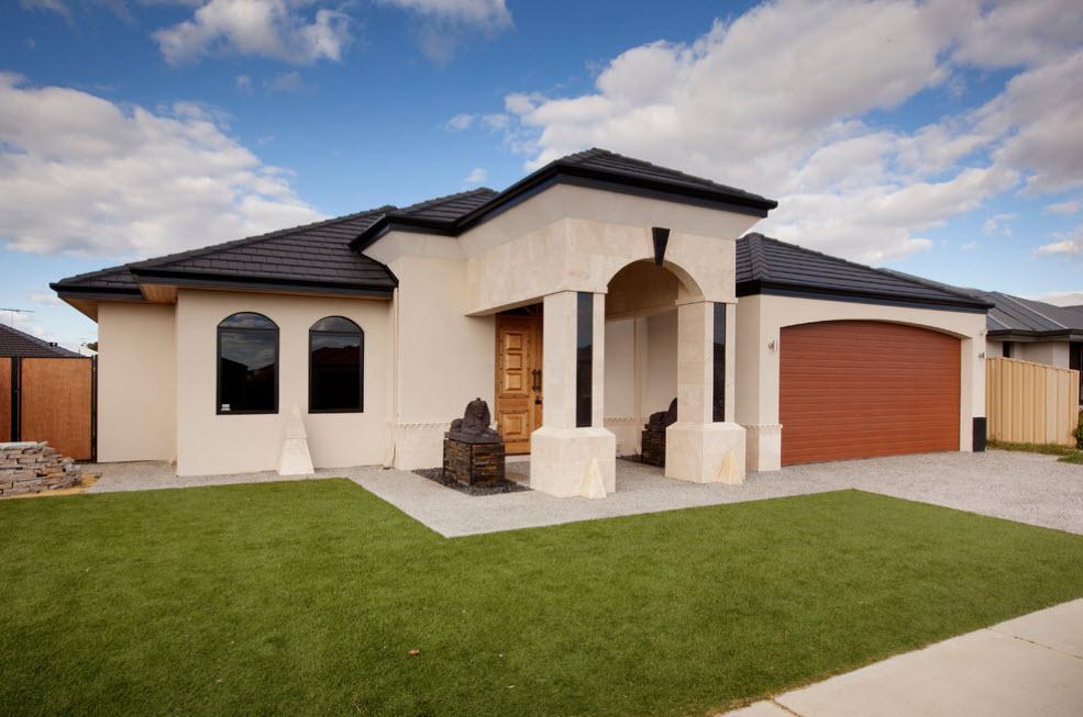 интересный дизайн дома с черной крышей и гаражом