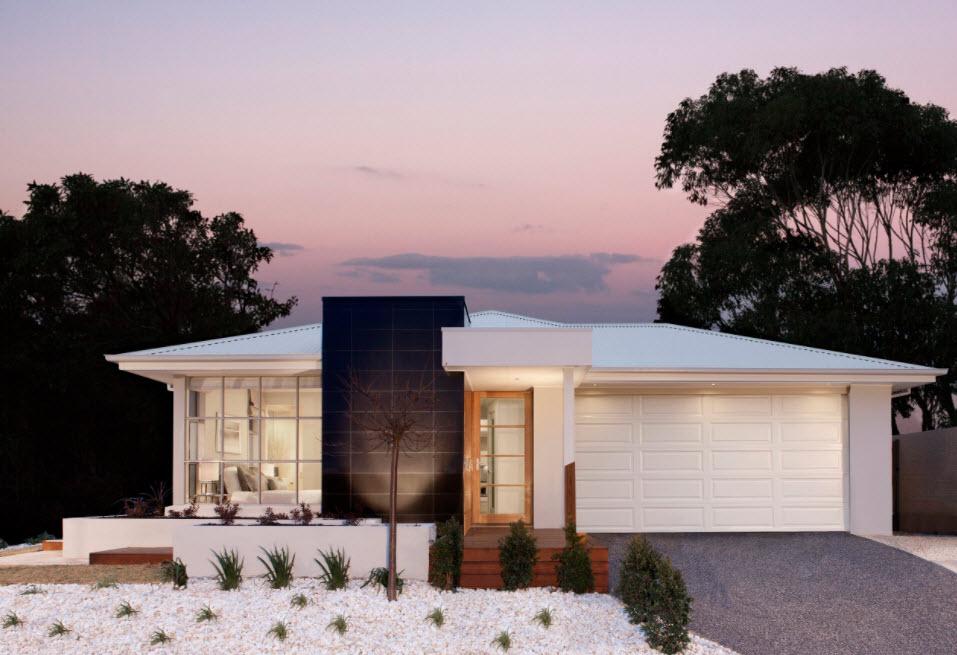 одноэтажный дом с гаражом в белых тонах