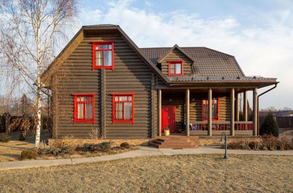 оригинальная цветовая гамма в оформлении фасада