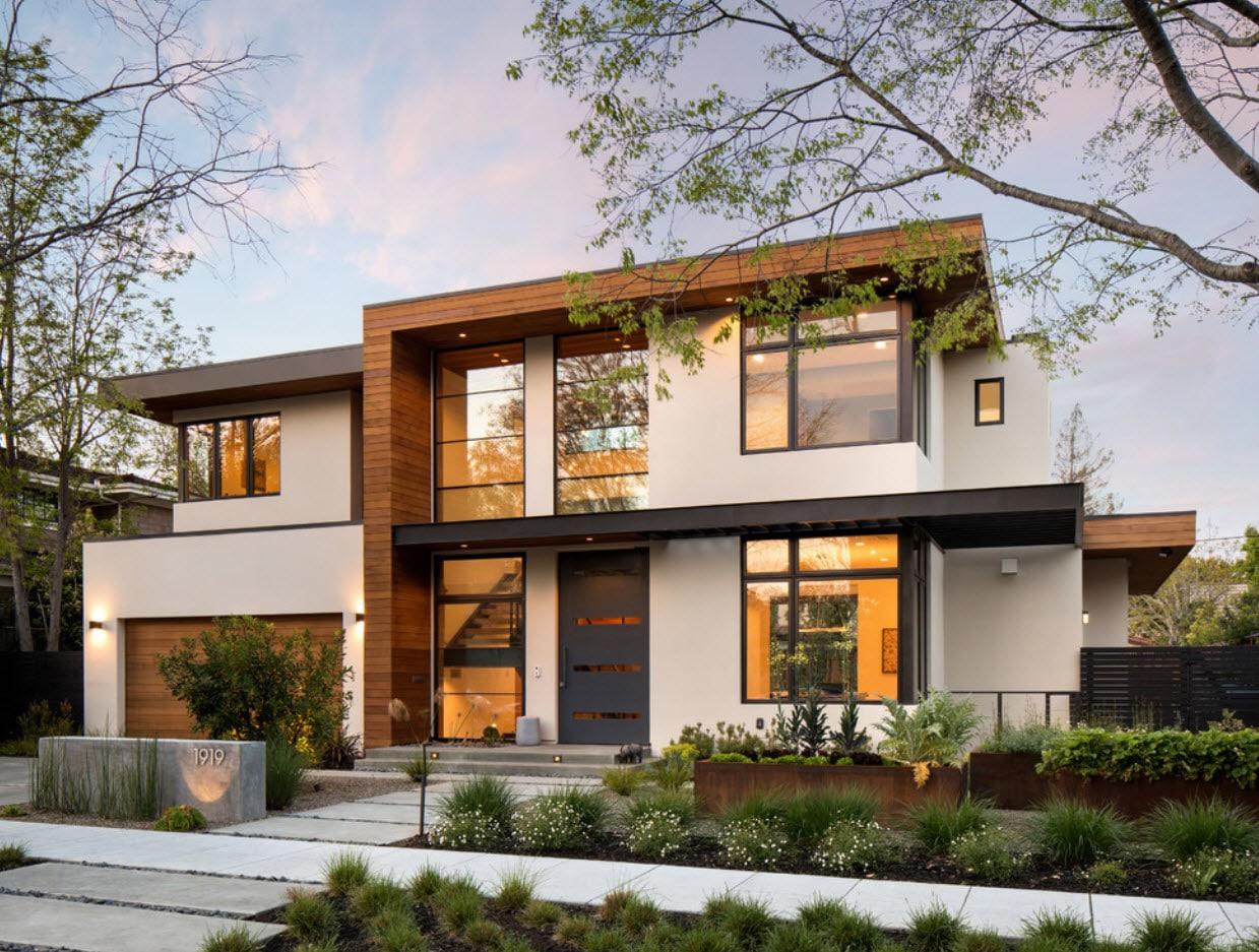 светлый дом с гаражом и ровной крышей