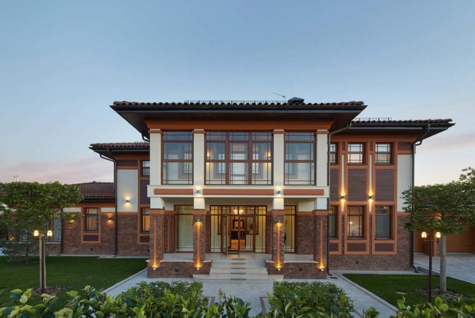 стильный фасад двухэтажного дома