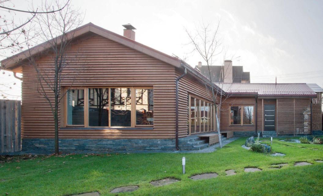 коричневый одноэтажный дом