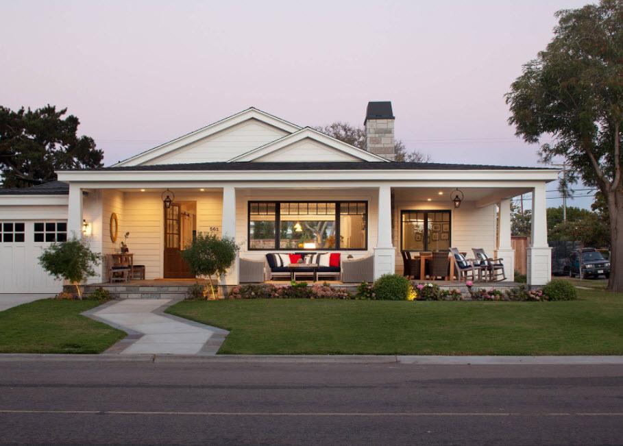 одноэтажный дом с красивой террасой