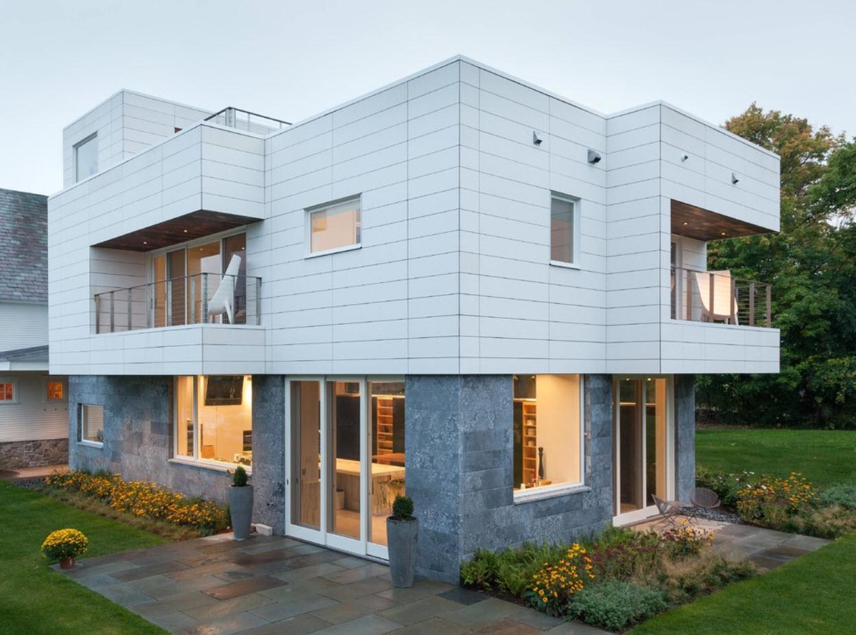 оригинальный фасад дома с плоской крышей
