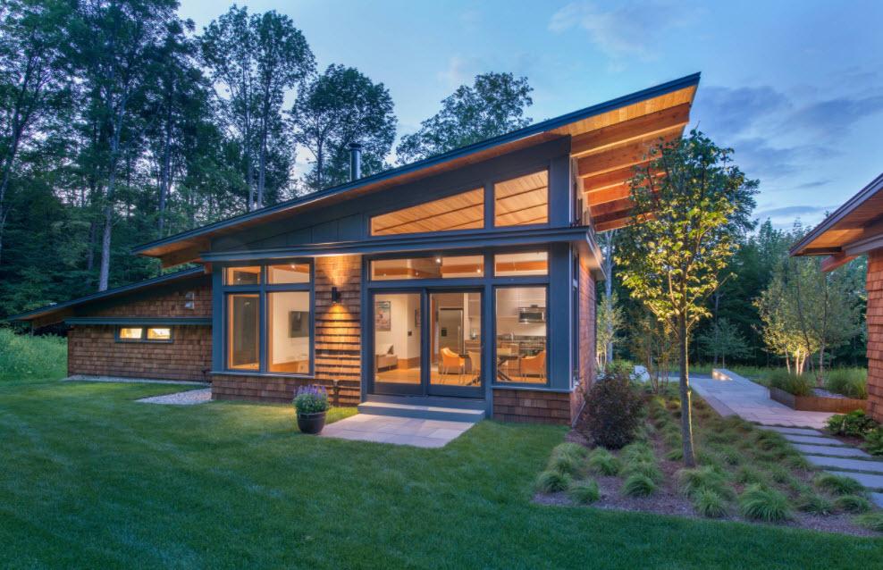 фото домов с односкатной крышей