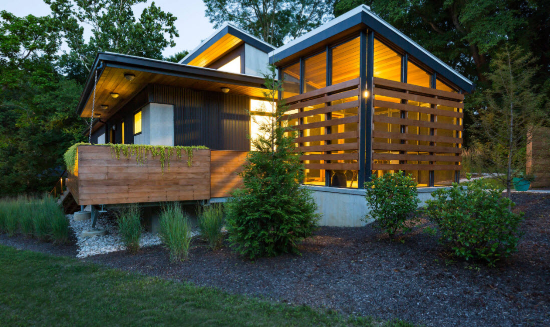 дом в лесу с односкатной крышей