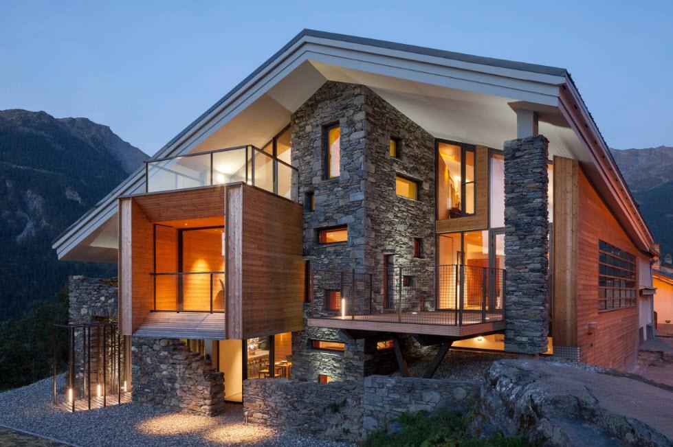 дом шале необычной формы