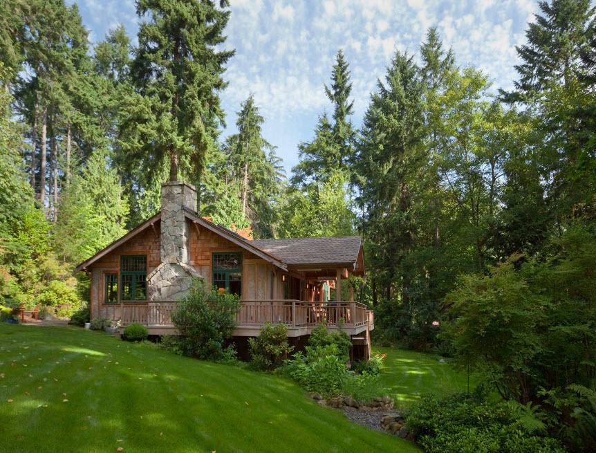 дом шале посреди леса
