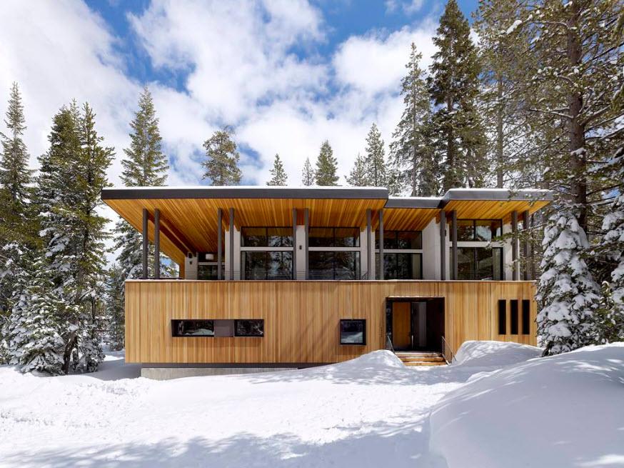 дом шале с плоской крышей