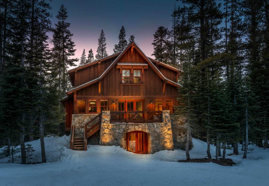 красивый фасад дома шале