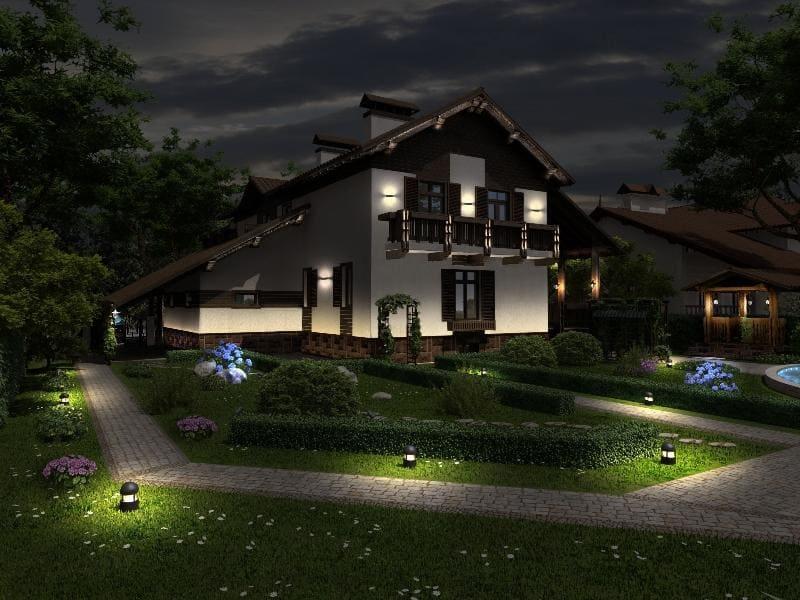Освещение фасада частного дома: типы освещения и выбор светильников